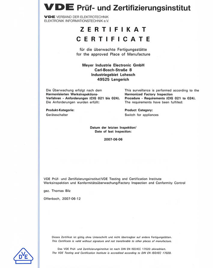 MEYLE VDE certification for selected products