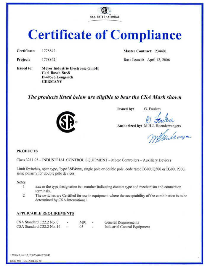 CSA certification for selected products