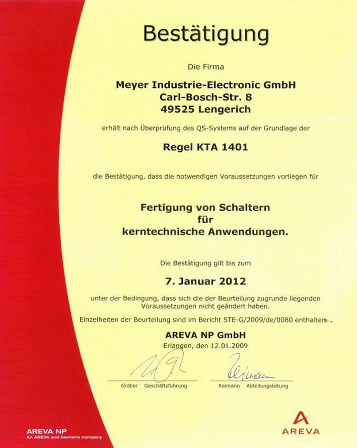 KTA 1401 certification as a Suplier to nuclear power plant applications